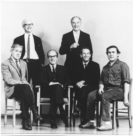 LMB Governing Board, October 1967. Left to right: Hugh Huxley, John Kendrew, Max Perutz, Francis Crick, Fred Sanger, Sydney Brenner. Photograph taken in the old LMB lecture theatre.