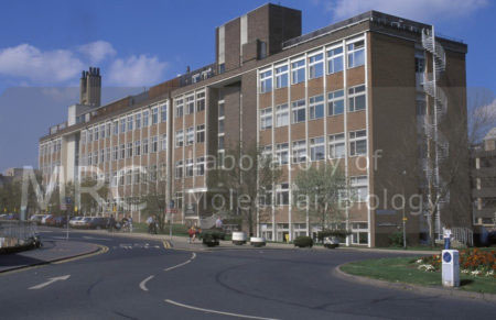 Exterior view of LMB viewed from Hills Road end, showing the original building and 13-bay extension, c. 1990s.