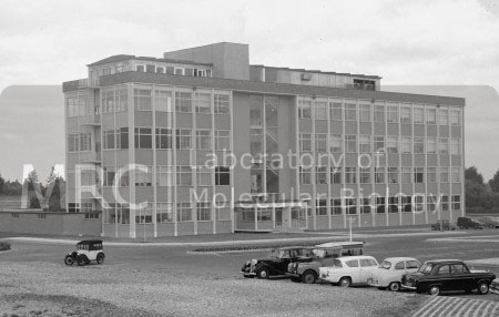 LMB building, exterior view from Addenbrookes Hospital, c. 1962.