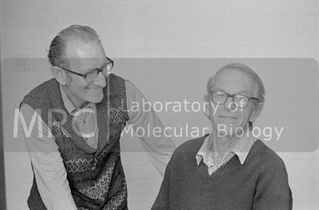 César Milstein and Fred Sanger photographed at LMB, c. 1980s.