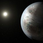 An artist's concept of Kepler-452b, a 1.5 Earth size exoplanet discovered within the habitable zone of a Sun-like star.