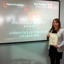 Rebecca Thompson receiving Apprenticeships Award