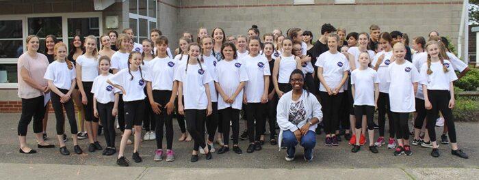 Denise Walker with dance students at King Edward VI School, Bury St Edmunds