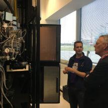 Sjors Scheres shows Hilary Benn a cryo-electron microscope