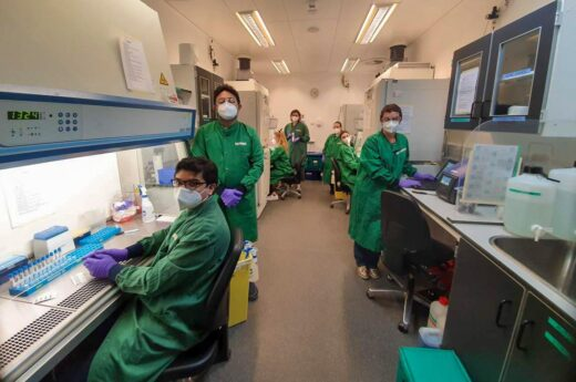 Volunteer team in-action at the Addenbrooke's NHS staff testing facility on the Cambridge Biomedical Campus.
