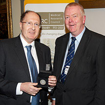 Greg Winter receiving the MRC Millenium Medal