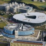 Aerial view of the LMB, AstraZeneca and Royal Papworth from the south east