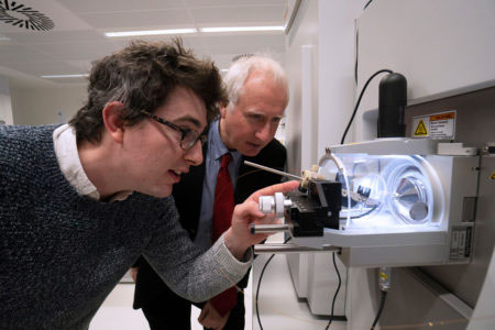Glenn Masson explains how he uses mass spectrometry to Daniel Zeichner
