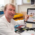 Chris Oubridge in the lab LMB