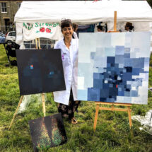 Dilek Özgit with her works of art. Image courtesy of Nicola Smyllie.