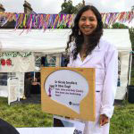 Nicola Smyllie participates in Soapbox Science at Strawberry Fair. Image courtesy of Nicola Smyllie.