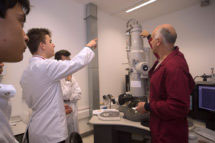 Students with Electron microscope