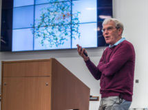 Richard Henderson giving 'Talk at 6' at the Cambridge Academy for Science & Technology