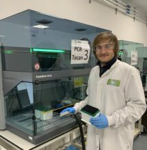 Tobias Wauer in-action at the Lighthouse Lab in the UK Biocentre, Milton Keynes
