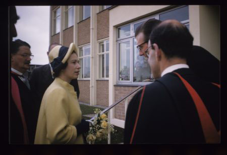 Her Majesty the Queen arriving at MRC Laboratory of Molecular Biology 28th May 1962 to open the building.