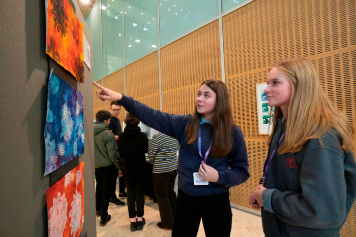 Students from Impington Village College exploring the exhibition